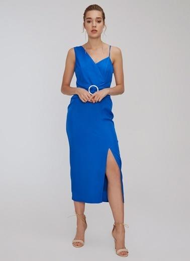 People By Fabrika Toka Detaylı Yırtmaçlı Elbise Saks